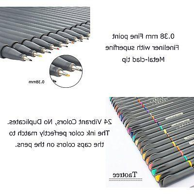 24 Fineliner Pen Set 0.38mm Sketch Writing Drawing