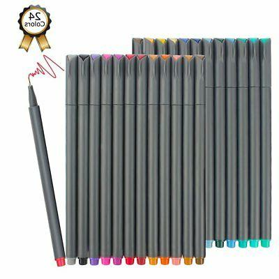 Fineliner Pens, iBayam 24 Colors Fine Tip Colored Writing Dr