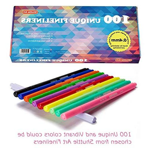 Shuttle Fineliner 100 0.4mm Color Line Drawing Point Perfect for Adult Coloring and Art Projects