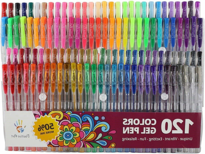 Gel Pens 120 Colors Set Adult Coloring Markers No Duplicate