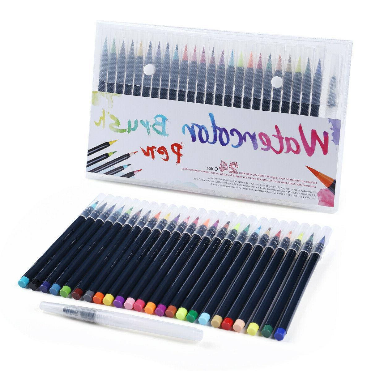 Watercolor Brush Pens Set 25pcs Water Paint Markers Coloring