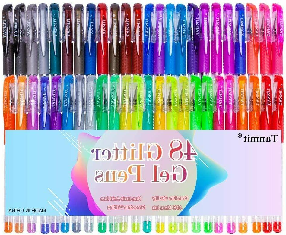 Glitter Gel Pens 48 Colors Markers Fine Point Pen Set for Ad