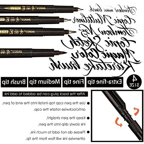 Hand Lettering Pen Markers Refillable - 4 for Drawings, Water Bullet Journaling More