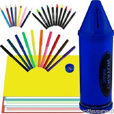 Crayon Bank Includes 40 Piece Art Set Markers Coin Change Ki