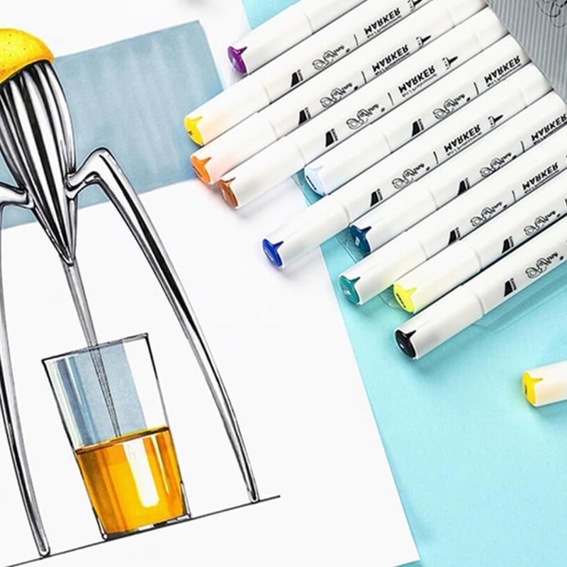 Marco Raffine Alcohol <font><b>Markers</b></font> Set <font><b>Prismacolor</b></font> Headed Sketch Pens
