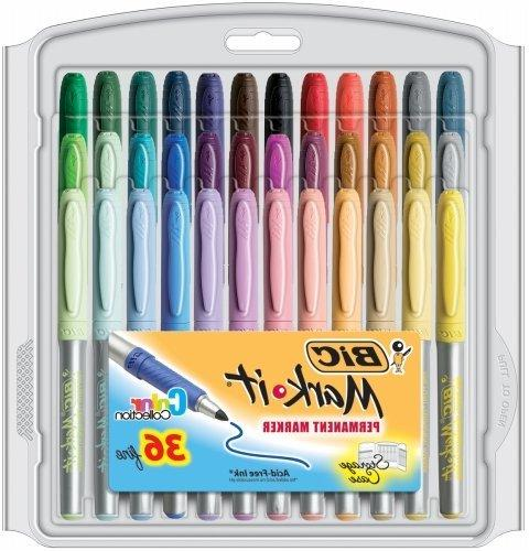 BIC Point Permanent Permanent Markers, Point, Assorted Colors,