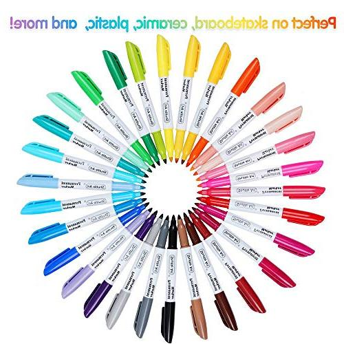30 Permanent Markers, Fine Point, Works Glass Doodling, Marking by