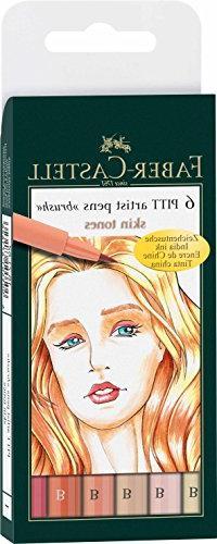 Faber-Castell India Ink Pitt Artist Pens, Set of 6 Brush Tip
