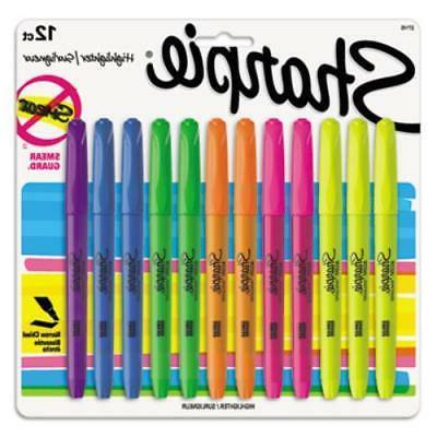 Sharpie Pocket Highlighters, Chisel Tip, Assorted Colors, 12