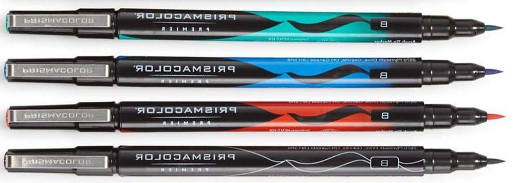 PRISMACOLOR  BRUSH TIP MARKERS NEW IN PACK 4  BLACK BLUE RED