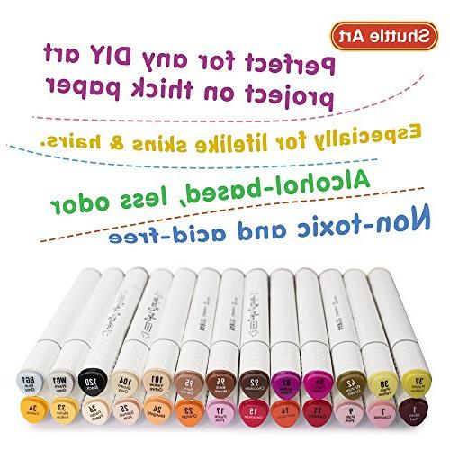 Shuttle Art 26 Skin Dual Marker, Permanent Marker Pens Ended and Point Tips Perfect for Manga, Portrait,