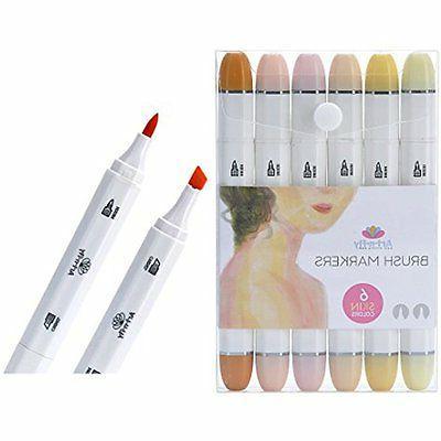 Skin Tone Brush Marker Pens Set For Drawing