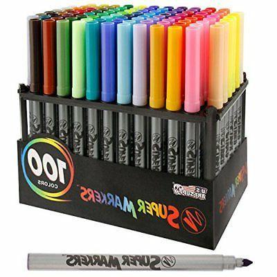 Super Markers 100 Unique Colors-No Duplicates Universal Bullet Point Marker Set