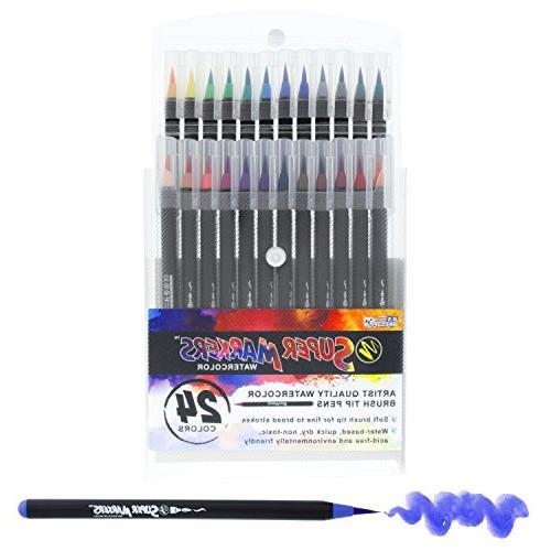 24 Color Super Markers Watercolor Soft Brush Tip Pens Set, F