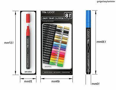 TOOLI-ART 18 Pens Assorted Markers Set 0.7mm