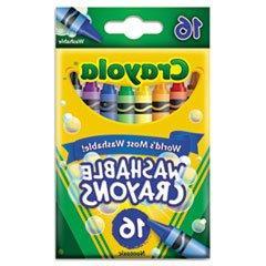 ** Washable Crayons, Regular, 8 Colors, 16/Box **