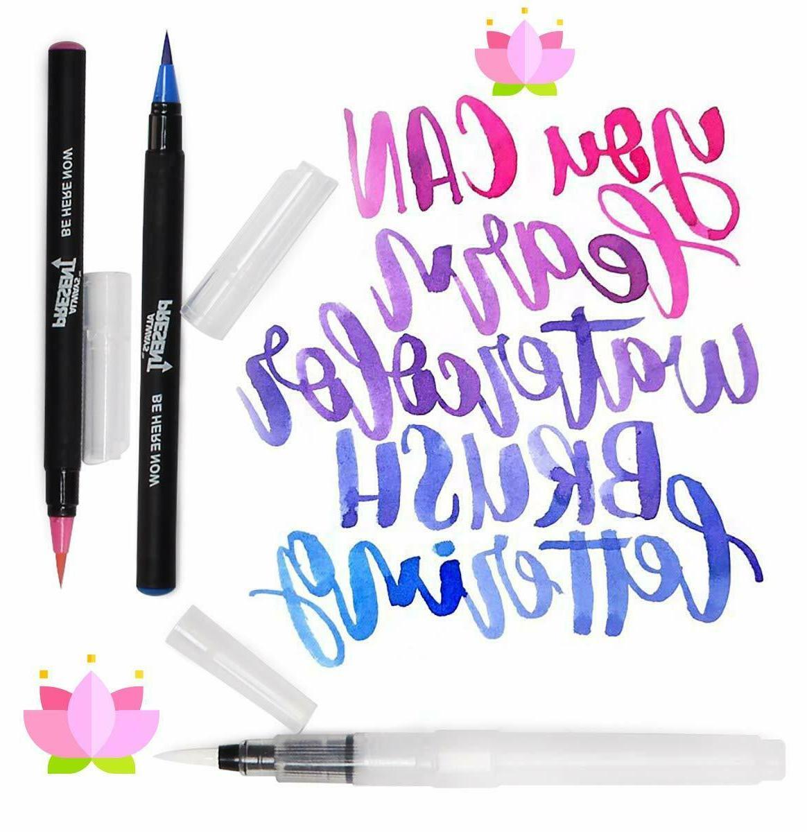 Watercolor Brush Pens Set 25pcs Water Markers Coloring Drawing