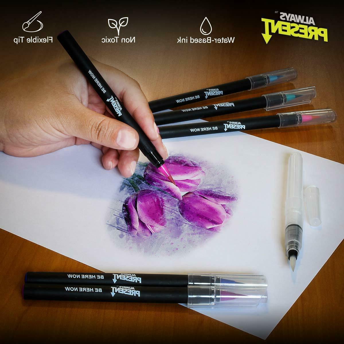 Watercolor Brush Set 25pcs Water Paint Markers Coloring Drawing