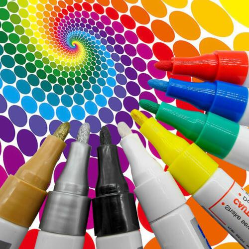 PAINT MARKERS - OIL BASED - OF 12 COLORS BASED ART PEN NEW