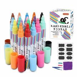 Liquid Chalk Markers,30 Colors Shuttle Art Erasable Chalk Pe