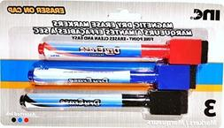 Magnetic Fine-Point Dry Erase Markers 3 Pack Red Blue Black