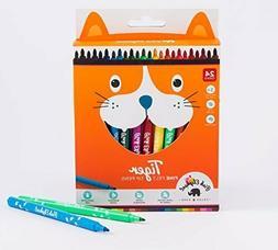 Marker Pens Fine Felt Tip 24 Classic Colors Set for Kids and