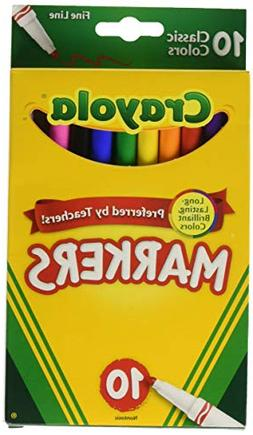 Crayola Markers, Fine Line, Classic Colors, 10 ct.