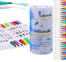 MontoSun Art Markers Permanent Markers, Dual Tips Color Pen