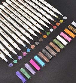 Feela 15 Colors Metallic Brush Marker Pens, Metallic Calligr