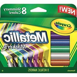 Crayola 642337910395 2 Pack Metallic Markers, 8 Count, w