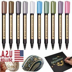 Metallic Paint Markers Pens, Painting on black rocks, Glass,