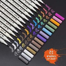 Metallic Permanent Paint Markers Pens - Fine Point Metal Art