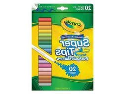 New Crayola 20ct Washable Super Tips Markers 20 Color Variet