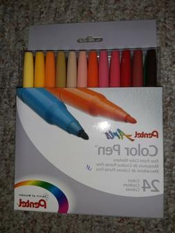 NEW Pentel Arts Color Pen Fine Point Markers 24-Pack Assorte