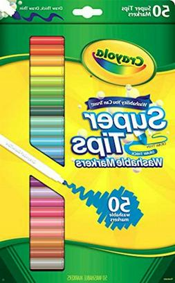 New Crayola Super Tips Markers, Washable Markers, Gift, 50 C