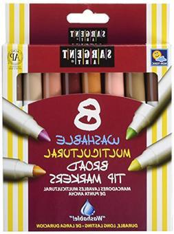 Sargent Art Multi-Ethnic Washable Markers, Broad Tip, Assort