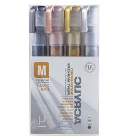 Montana Acrylic 4-Color Metallic Marker Set, Fine
