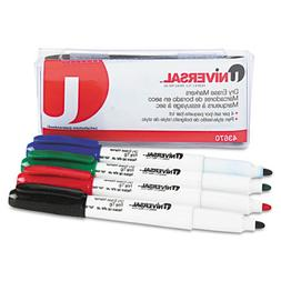 UNIVERSAL PEN STYLE DRY ERASE MARKERS FINE TIP 4 COLORS BLUE