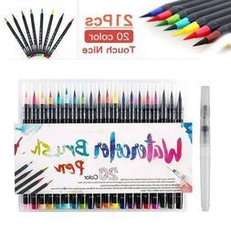 20-Colors Pens Watercolor Drawing Painting Brush Artist Sket