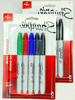 Sharpie Permanent Markers, Fine Point, Assorted Colors, 5 Co
