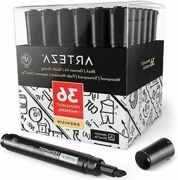 Arteza Permanent Markers, Black, Chisel Tip - Pack of 36