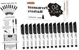Permanent Markers,Shuttle Art 50 Pack Black Permanent Marker