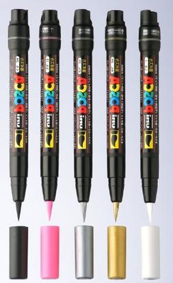 Uni Posca Marker PCF-350 Paint Glass Pen Brush Tip 8mm Gold