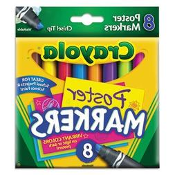 CRAYOLA Poster Markers, Chisel Tip, Washable, 8/BX, Assorted