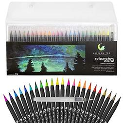 Art Mastery Real Brush Pens, 24-Pack with Flexible Brush Tip