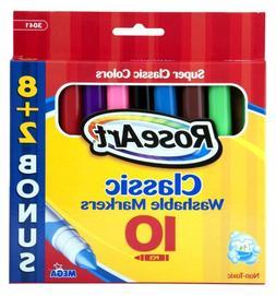 RoseArt Classic Washable Broad Markers, 8 + 2 Bonus Markers,