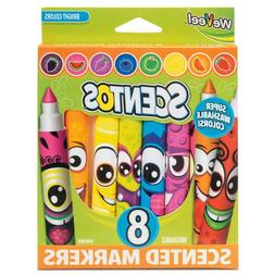 Scentos Funny Face School Markers 8 Pack Fruity Scented Felt