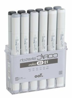 Copic SCG12 Markers 12-Piece Sketch Set, Cool Gray