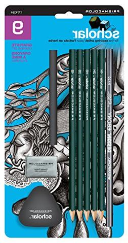 Prismacolor Scholar Drawing Set, with 7 Pencils & 2 Erasers,