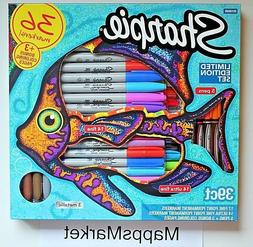 New Sharpie Limited Edition Set 39 Pieces 36 Permanent Marke